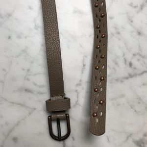 Women's Tan Brown Thin Faux Leather Studded Belt